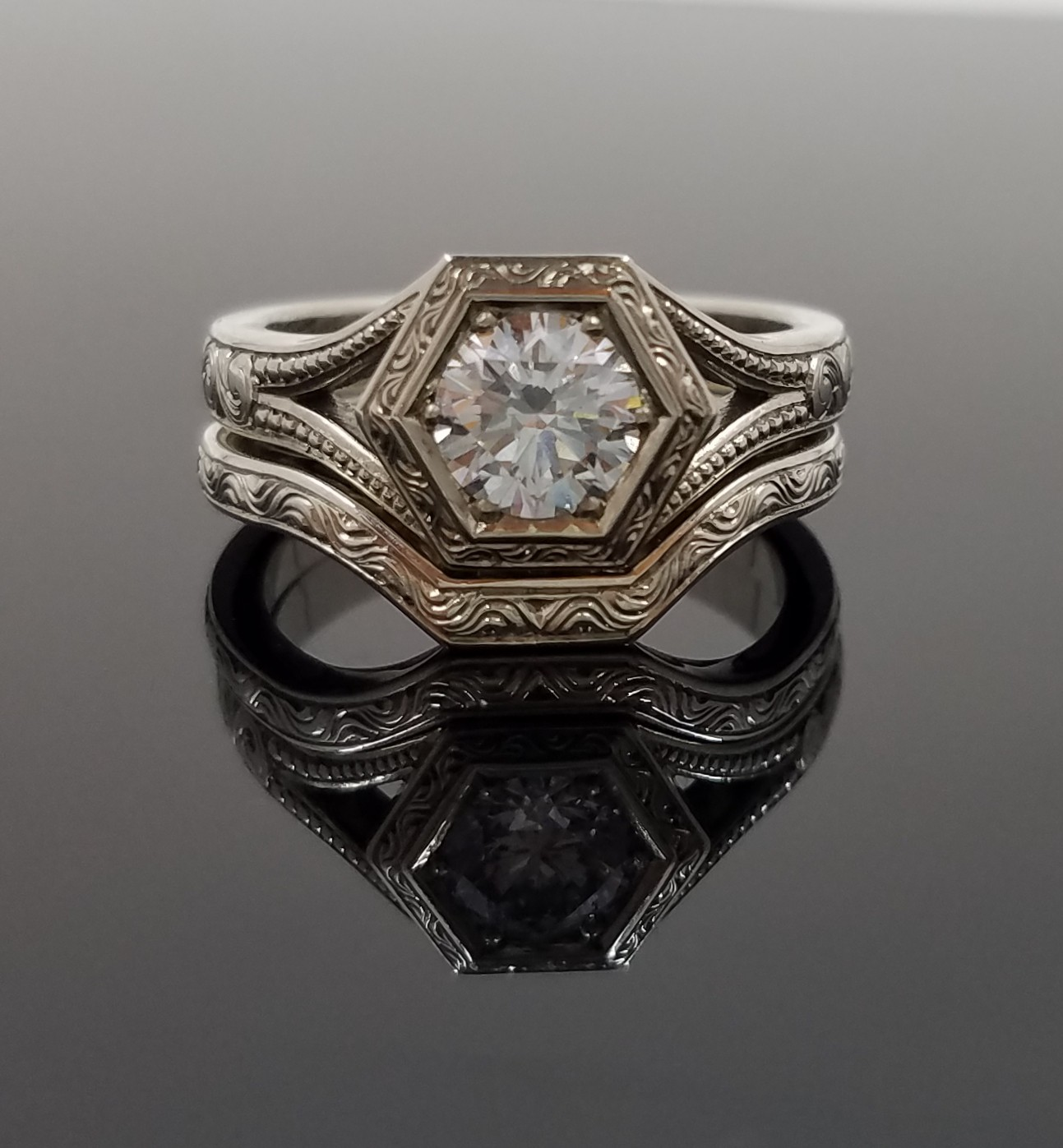Hexagonal Diamond Ring Gt Engagement Collection Gt Silver