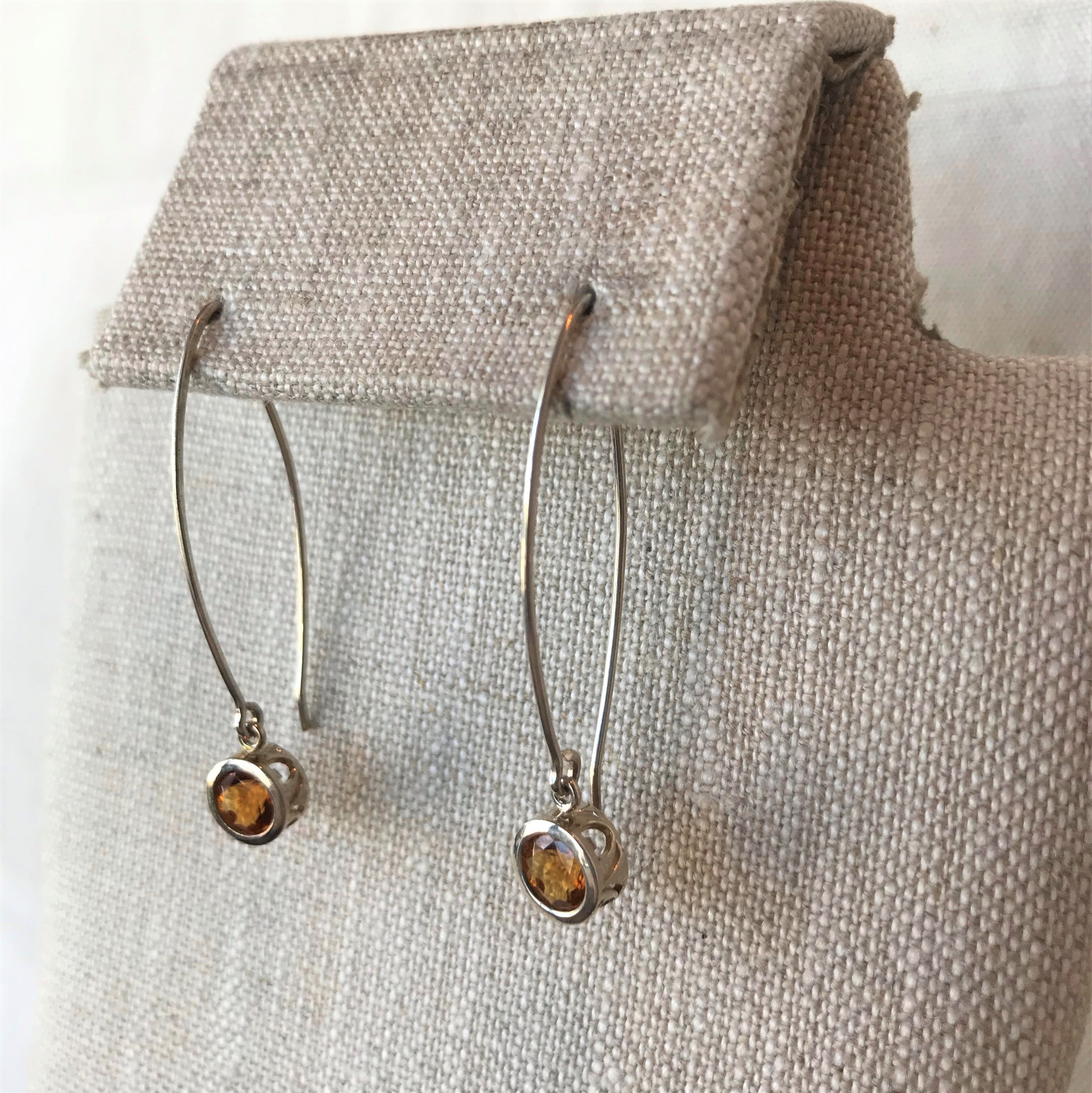 Filigree Citrine drop earrings