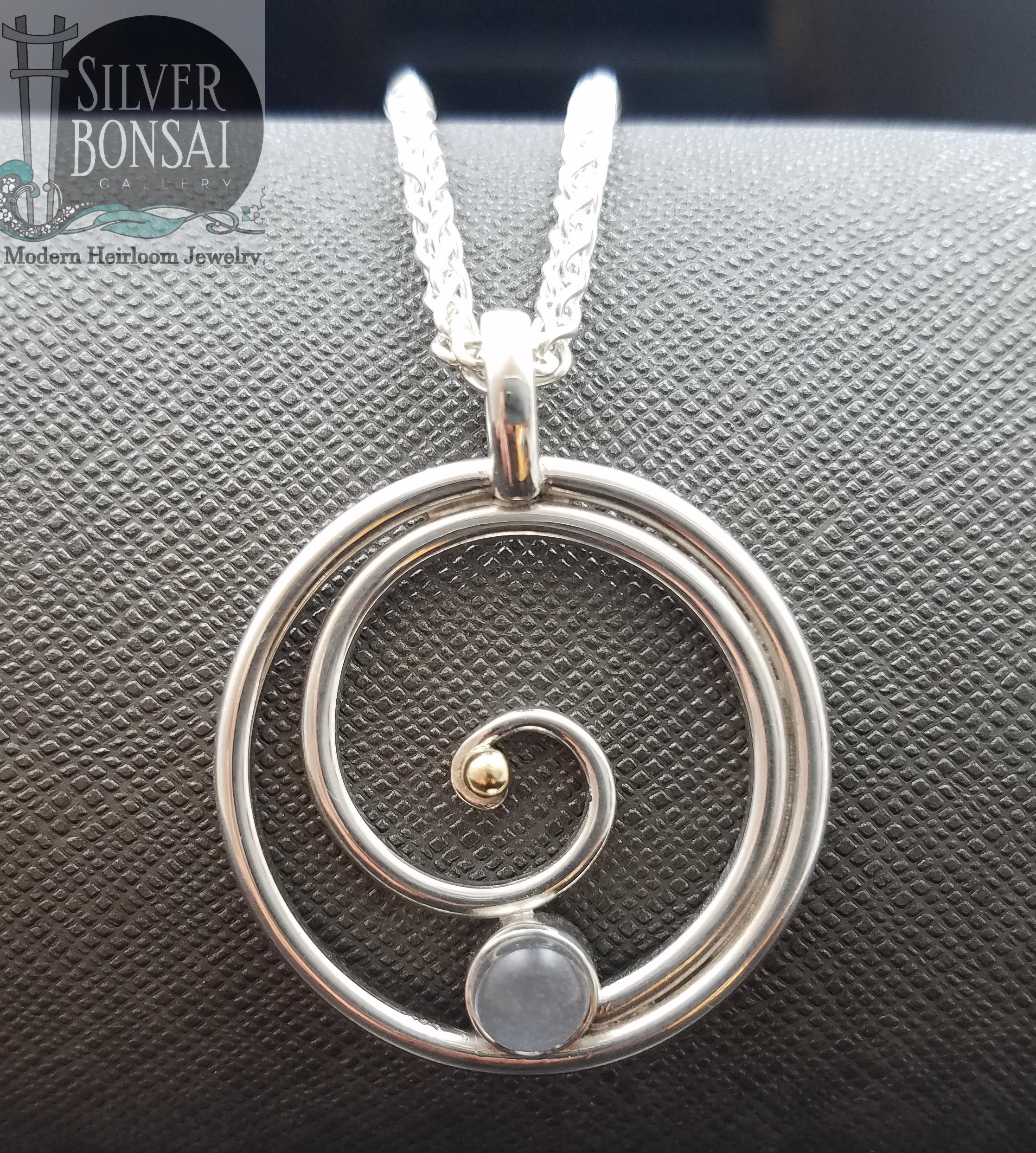 Moonstone Circle Spiral Two Toned
