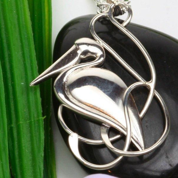 Elegant Hand Forged Sterling Silver Pelican Pendant
