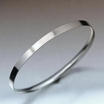 "Engravable Silver Bangle, 6mm, 1/2""Rd"