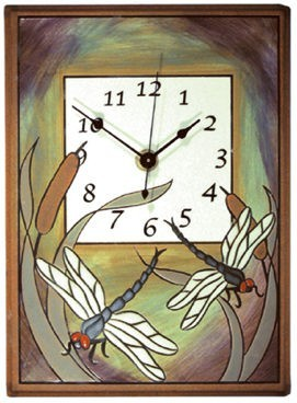 Dragonfly Bulrush Ceramic Clock - CL042
