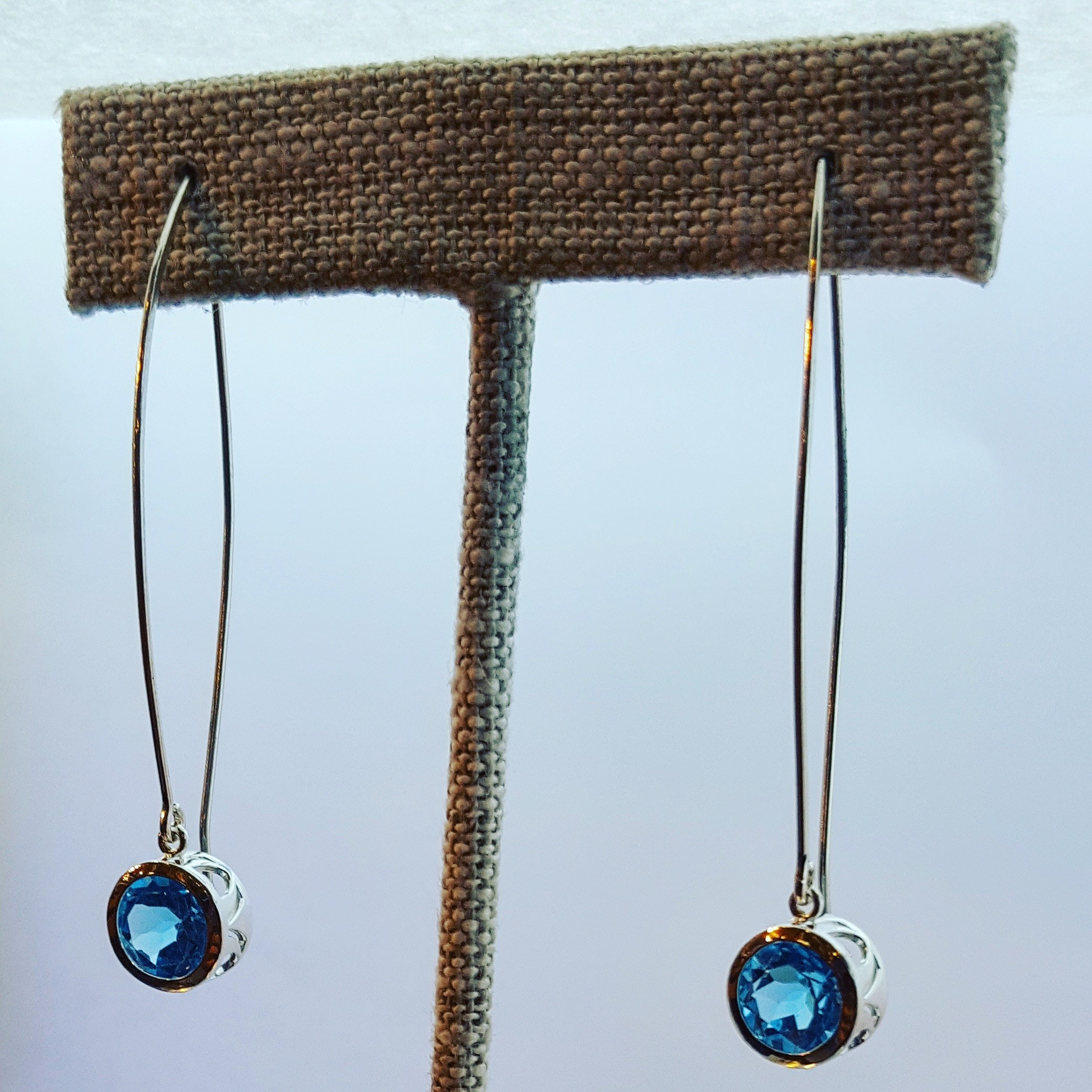 Filigree Topaz Drop SS Earrings