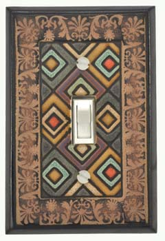 Ethnic Quilt single switch plate