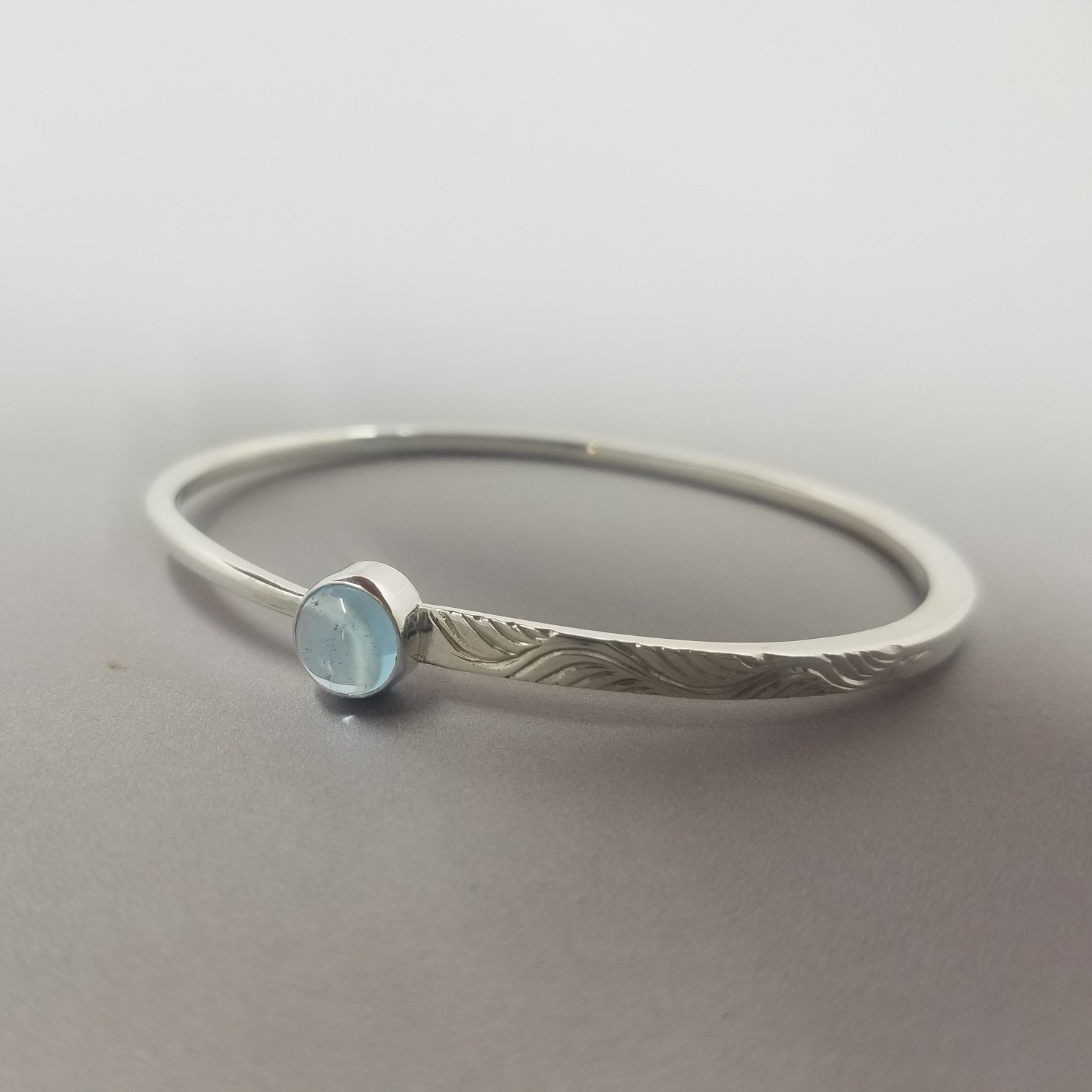 Forged and Engraved Topaz Bangle