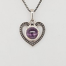 Milgrain Heart Necklace Amethyst