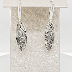 Engraved SS Oval Earrings