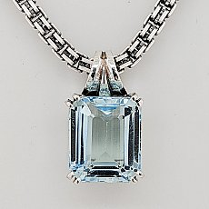 Emerald Cut Blue Topaz Slide Necklace