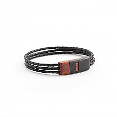 Ebony Leather Magnetic Bracelet