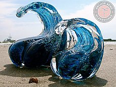 Glass wave paperweight-MD