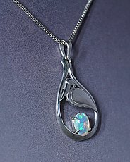 Welo Opal Silver Pelican and Seagrass Necklace