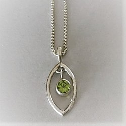 Petite Shield Drop with Peridot Necklace