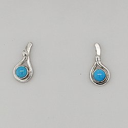 Seagrass Post Earring w/ 4mm Turquoise