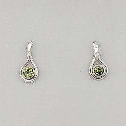 Seagrass Post Earring w/ 4mm Peridot