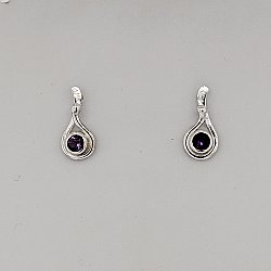 Seagrass Post Earring w/ 4mm Amethyst