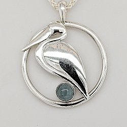 Aqua Circle Pelican Necklace