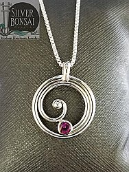 Circle Spiral Necklace with Garnet