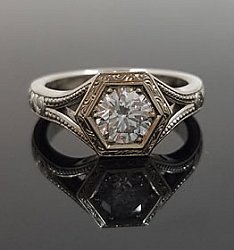 Hexagonal Diamond Ring