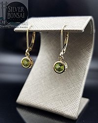 5mm Peridot Filigree Dangle Earrings