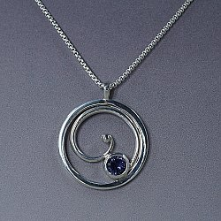 Iolite Silver Spiral Circle Necklace