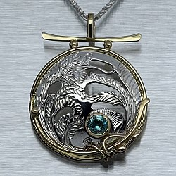Blue Zircon Fern Medallion