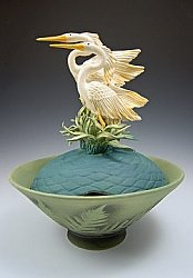 Two Herons Covered Bowl