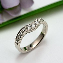 Wheat Leaf Diamond Wedding Ring