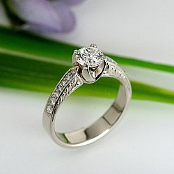 White Gold Bead and Bright Solitaire