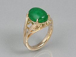 Chrysoprase & 14K Gold Filigree Ring