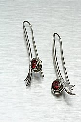 Bamboo Leaf Earrings w/ Mozambique Garnet