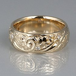 Hand Carved Dogwood and diamond Ring