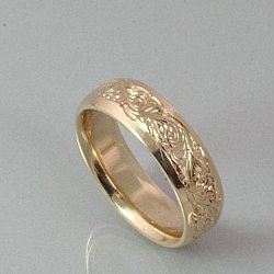 Hand Engraved Scroll Wedding Band