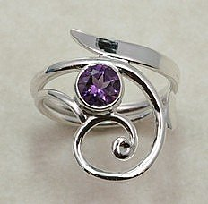 Hand Forged Amethyst and Sterling Silver Ring
