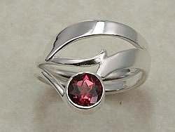 Hand Forged Pink Tourmaline and Sterling Silver Ring