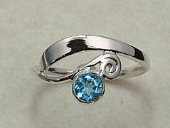 Hand Forged Blue Topaz & Sterling Silver Ring