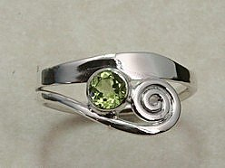 Hand Forged Peridot and Sterling Silver Ring