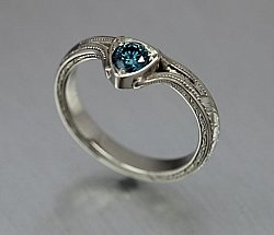 Blue Diamond Contour Ring