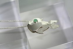 Hand Forged Chrysoprase Fish Necklace