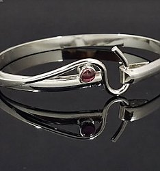 Artist's Choice Pink Tourmaline Forged Hook Bracelet