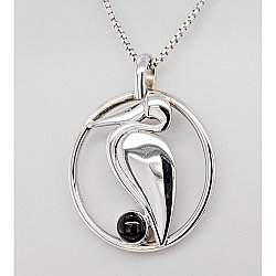 Black Spinel Pelican Circle Necklace