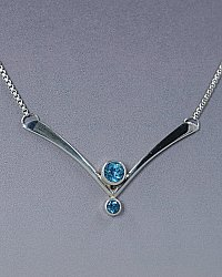 "Blue Topaz ""V"" Necklace"
