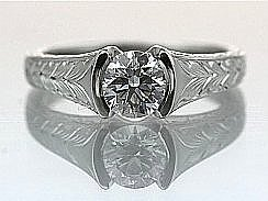 Wheat Leaf Engraved Solitaire Ring 14KW