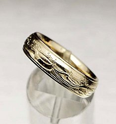 Engraved Wave Ring