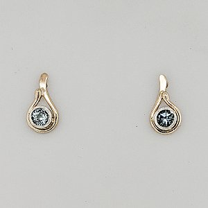 Two-Tone Seagrass Post Earring w/ 4mm Gem
