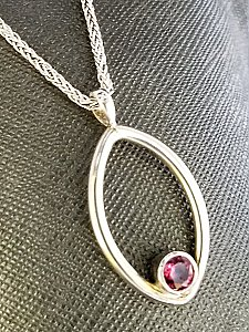 Open Almond Necklace with Garnet