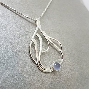 Blue Chalcedony Seagrass Pendant, SS