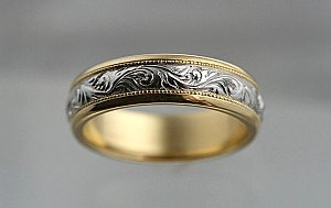 Scroll Engraved Two Tone Band