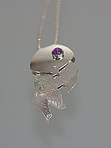 Hand Forged Amethyst Fish Necklace