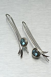 Bamboo Leaf Earrings w/ Blue Topaz