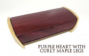 Ring/Cufflink Box Purple Heart and Curly Maple